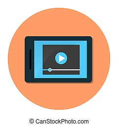 Tablet with video player on screen. flat illustration.