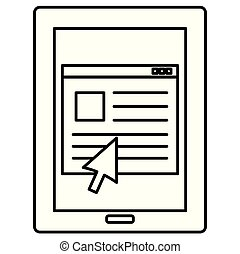 tablet with webpage template
