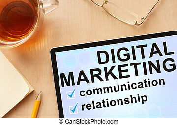 Tablet with words digital marketing