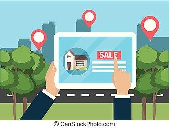 tablet, woning, verkoop, hand, zakenman, eigendom