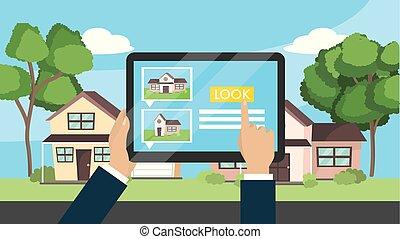 tablet, woning, verkoop, handen, zakenman, eigendom