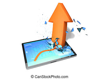 Tablet with a graph and orange arrow who breaks the display