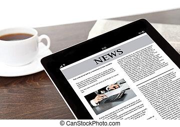 tablet, zakelijk, scherm, computer, tafel, zakenman, nieuws,...