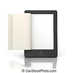 tableta, aislado, lector, páginas, vacío, libro electrónico