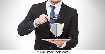 tableta, antivirus, pc, programa, hombre de negocios, icono