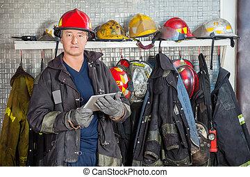 tableta, bombero, parque de bomberos, tenencia, digital