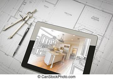 tableta, casa, actuación, ilustración, computadora, compás, planes, lápiz, cocina