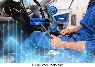 tableta, coche, diagnóstico, pc, mecánico, elaboración, hombre