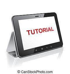 tableta, computadora, con, texto, preceptoral, en la exhibición