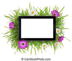 tableta, con, blanco, pantalla blanca, rodeado, por, flora