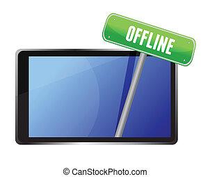 tableta, con, fuera de línea, mensaje