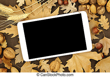 tableta, con, pantalla en blanco, en, otoño, plano de fondo