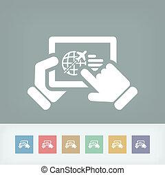 tableta, conectado, a, avión, sitio web