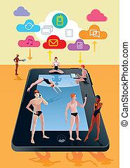 tableta de digital, como, piscina, naranja
