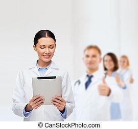 tableta, doctor, pc, sin, estetoscopio, hembra