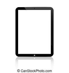 tableta, empresa / negocio, negro, similar, aislado, botón, ...