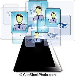 tableta, empresarios, aislado, ilustración, plano de fondo, blanco