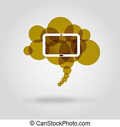 tableta, en, nube