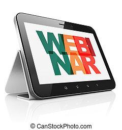 tableta, exhibición, computadora, webinar, concept:, ...