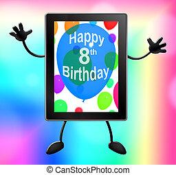 tableta, ilustración, celebración, fiesta de cumpleaños, 3d,...
