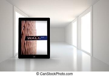 tableta, imagen compuesta, wall street, pantalla