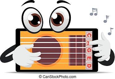 tableta, mascota, tocar la guitarra, aplicación