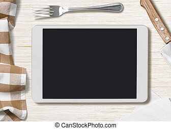 tableta, notas, cocina, receta,  PC, blanco