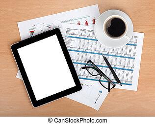 tableta, pantalla, blanco, gráficos, números, papeles,...