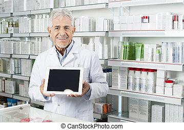 tableta, pantalla, blanco, tenencia, digital, 3º edad, farmacéutico
