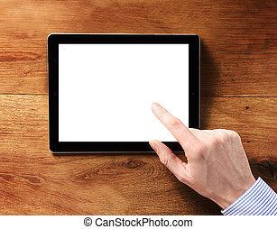 tableta, pantalla, conmovedor, computadora, dedo, blanco