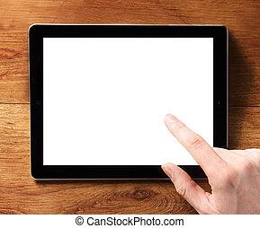tableta, pantalla, conmovedor, dedo, digital, blanco