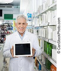 tableta, pantalla, digital, confiado, tenencia, blanco, farmacéutico