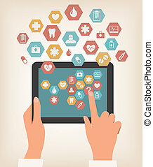 tableta, pantalla, dos, icons., conmovedor, vector., manos, médico
