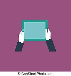tableta, pantalla, Manos, computadora, tenencia, blanco