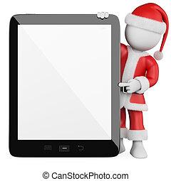 tableta, personas., claus, santa, blanco, blanco, 3d
