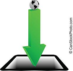 tableta, planeta, 20.04.13, flecha, tierra verde, modelo