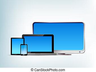 tableta, televisión, computador portatil, vector, pc, blanco, frente, vista., smartphone
