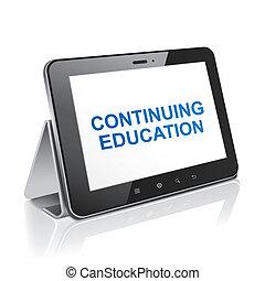 tableta, texto, continuar, enseñanza de la informática,...