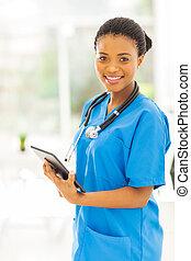 tableta, trabajador médico, norteamericano, computadora, africano