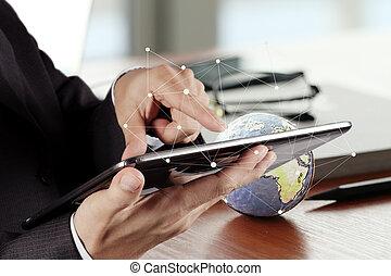 tableta, trabajando, flujo digital, arriba, mano, carbonice,...