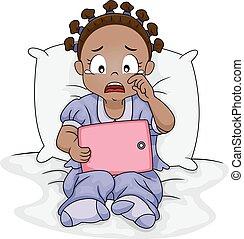 tableta, triste, llanto, africano, niña, niño