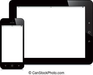 tableta, y, smartphone, con, pantalla en blanco, fondo...