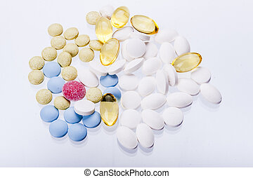 tabletas, blanco, fondo.