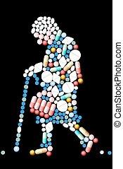 tabletas, mujer, viejo, píldoras