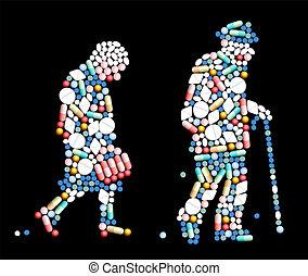 tabletas, viejo, píldoras, gente