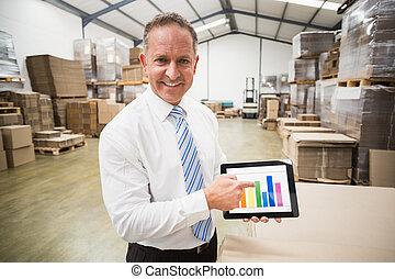 tablete gráfica, coluna, mostrando, saliência, sorrindo