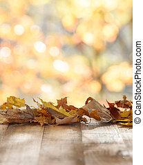 tabletop, mockup, automne, fond, bois