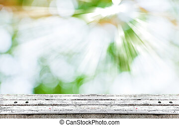 tabletop - wooden tabletop surface with fresh green nature...