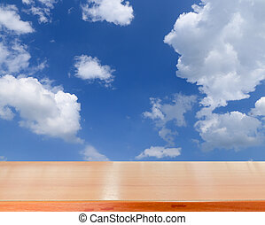 tabletop - wooden tabletop with summer sky background use...