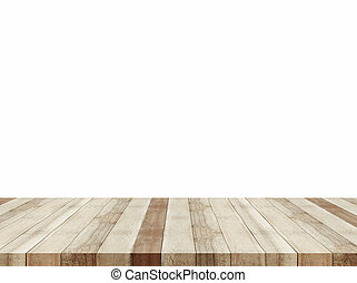 tabletop - Brown wooden tabletop isolated on white...